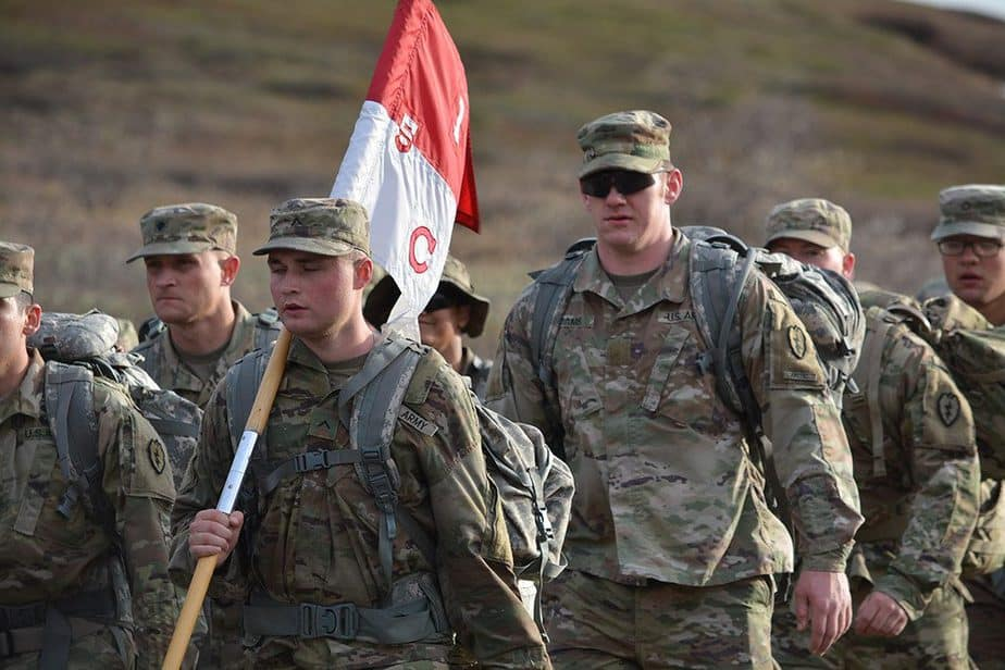 Soldiers on a ruck march