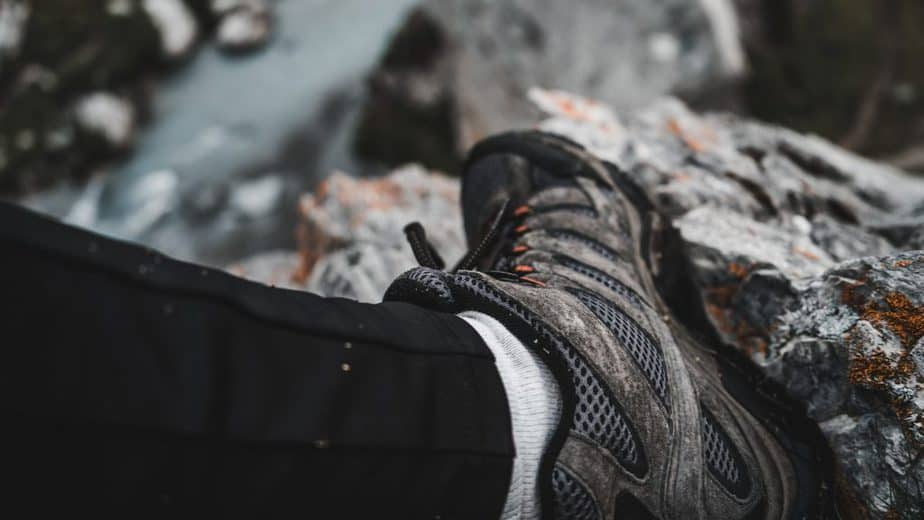 black and gray hiking shoe close-up