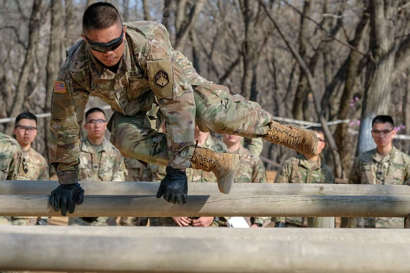 Pfc. Mark Lacanlale, Chemical, Biological, Radiological And Nuclear (CBRN) specialist, native of Lacey, Wash., 45th CBRN Company, 70th Brigade Support Battalion, 210th Field Artillery Brigade, leaps over the six vaults as part of the obstacle course event during the 2nd Infantry Division Best Warrior Competition, April 15, 2019, Camp Hovey, Republic of Korea. The competition served as a valuable training experience, and the winners will advance to the Eighth Army Best Warrior Competition May 2019. (U.S. Army photo by Capt. Daniel Parker)