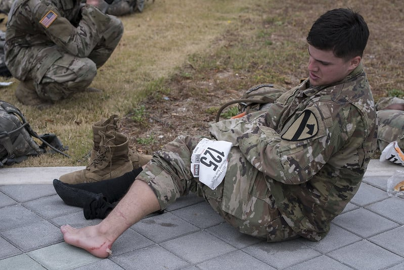 Soldier with a blister