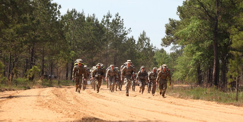 Soldiers compete in the 12 mile ruck march