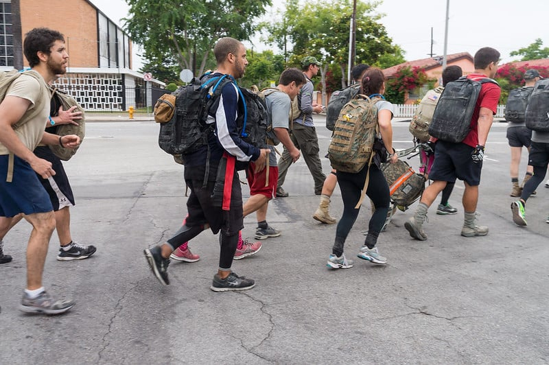 Rucking group rucking together