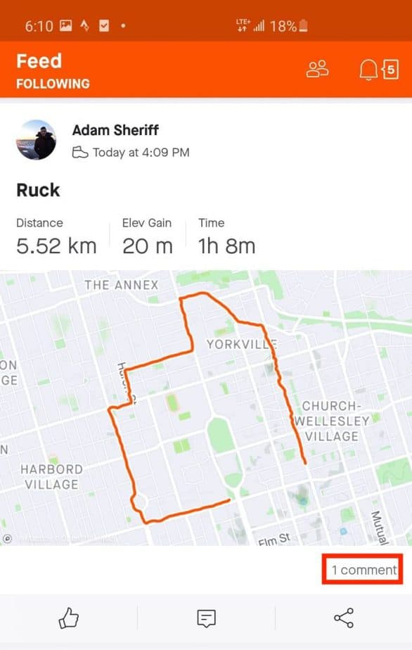 Screenshot of the Strava App use to track rucking performance