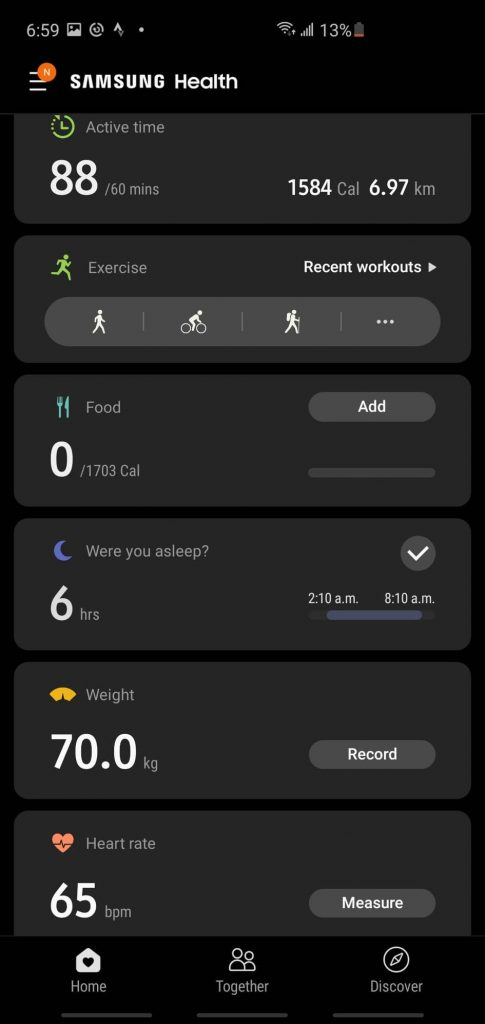 Screenshot of Samsung health app used to track rucking information - overview stats