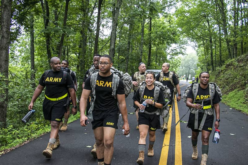 Georgia Army National Guardsmen and women in a ruck march - Rucking For women