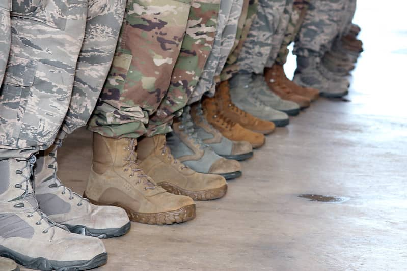 Soldiers wearing boots